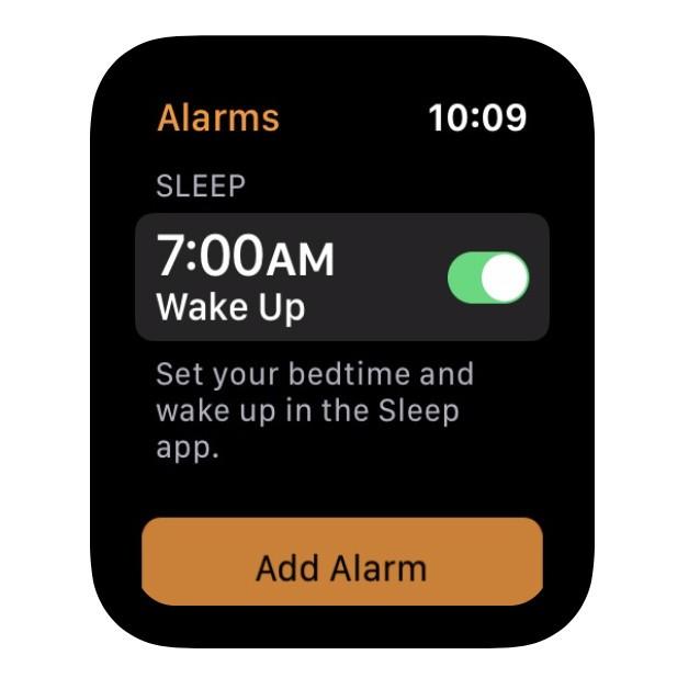 The Alarm Clock app displays a sleep function for Apple Watch