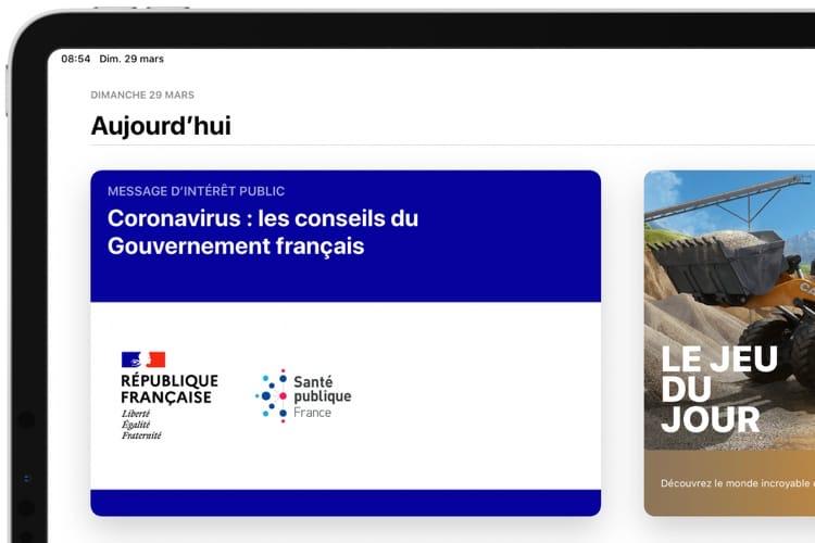 French LAppStore and News Widget Display Government Message on Coronavirus