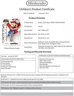 "Amiibo Super Mario silver ""height ="" 199 ""width ="" 153"
