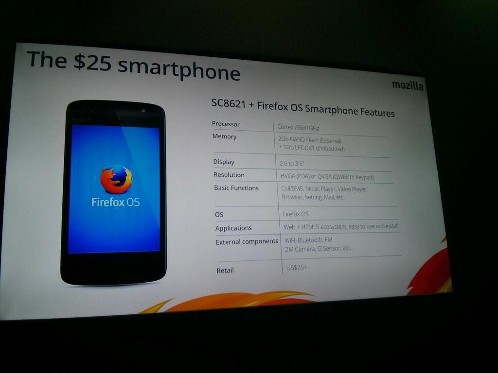 Firefox OS smartphone 25 dollars