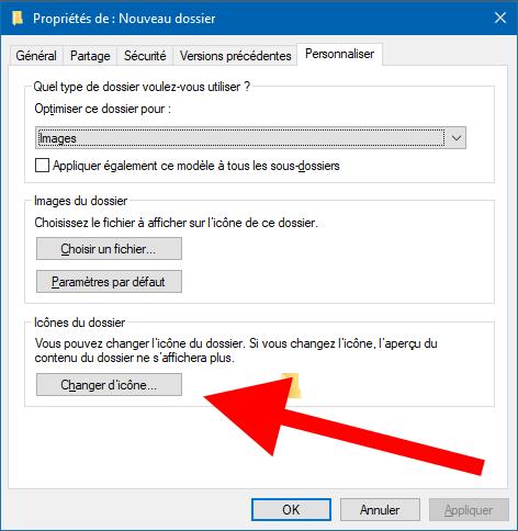 change folder icon windows 10 menu
