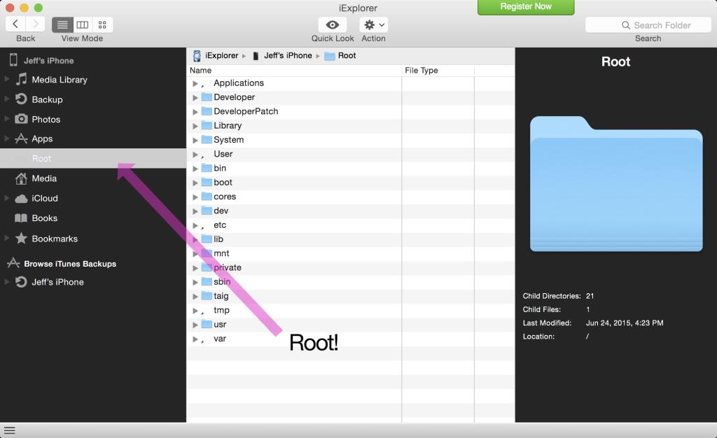 Root access afc2 iOS 8.3 jailbreak 1024x626 [Astuce] How to install AFC2 on a jailbroken iOS 8.3 device?