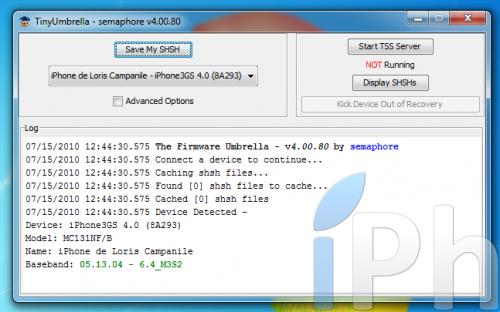 Screen 2010 07 15 to 12.44.58 500x312 TinyUmbrella Tutorial 03.13.83: Save your ECID iOS 4.0 / 4.0.1 [WINDOWS | MAC | LINUX]