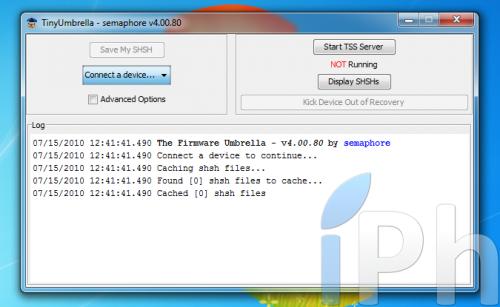 Screen 2010 07 15 at 12.43.15 500x307 TinyUmbrella Tutorial 03.13.83: Save your ECID iOS 4.0 / 4.0.1 [WINDOWS | MAC | LINUX]