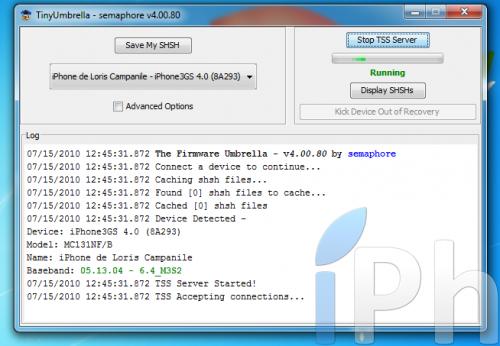 Screen 2010 07 15 at 12.45.36 500x346 TinyUmbrella Tutorial 03.13.83: Save your ECID iOS 4.0 / 4.0.1 [WINDOWS | MAC | LINUX]