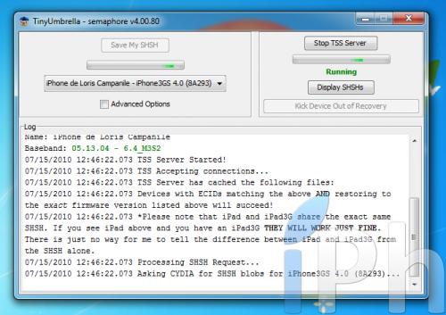 Screen 2010 07 15 at 12.46.23 500x353 TinyUmbrella Tutorial 03.13.83: Save your ECID iOS 4.0 / 4.0.1 [WINDOWS | MAC | LINUX]