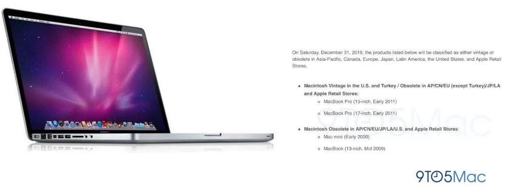macbook mac mini obsoletes December 2016 - MacBook Pro & Mac Mini: Apple will make certain models obsolete