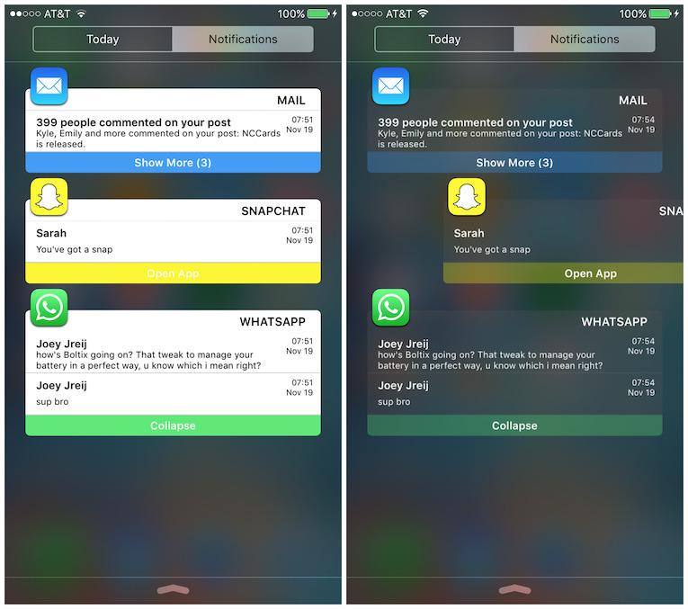 notificationcards cydia tweak ios 6 - Jailbreak iOS 9: NotificationCards improves the notification center (Cydia)