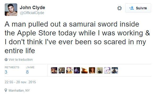 Tweet saber man new york - New York Apple Store: man arrested after removing saber