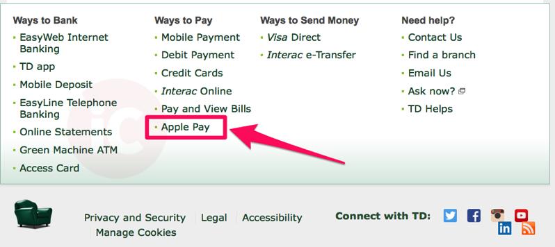 apple pay td canada - Apple Pay : un lancement au Canada en novembre ?