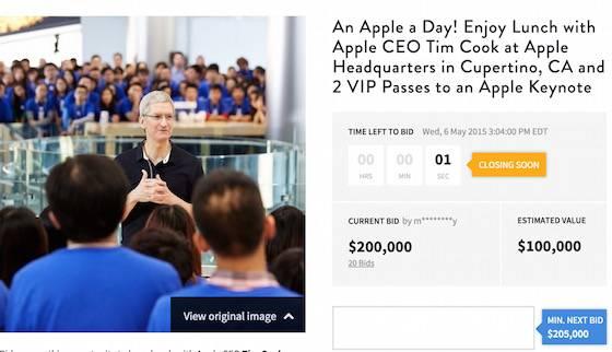 Dejeuner Tim Cook Encheres 200000 Dollars - Apple : le déjeuner avec Tim Cook vendu 200 000 dollars