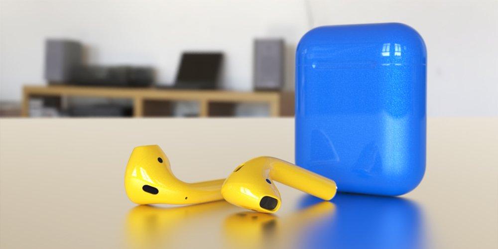 Airpods jaune boitier bleu - ColorWare propose de personnaliser les AirPods en 58 couleurs !