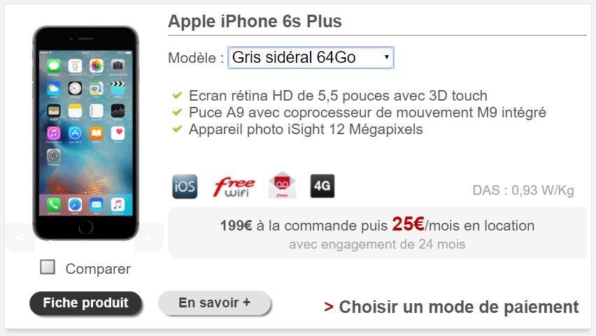 louer iPhone 6S Plus free mobile - Free Mobile permet enfin de louer un iPhone 6S Plus