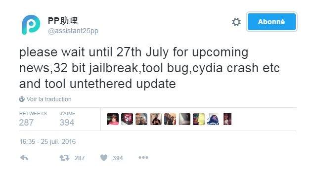 Pangu 25PP twitter jailbreak ios 9.3.3 32 bits - Jailbreak iOS 9.3.3 untethered : sortie le 27 juillet pour les iPhone 32 bits ?