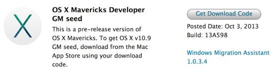 OS X Mavericks Golden Master GM - Mac : OS X Mavericks Golden Master (GM) disponible