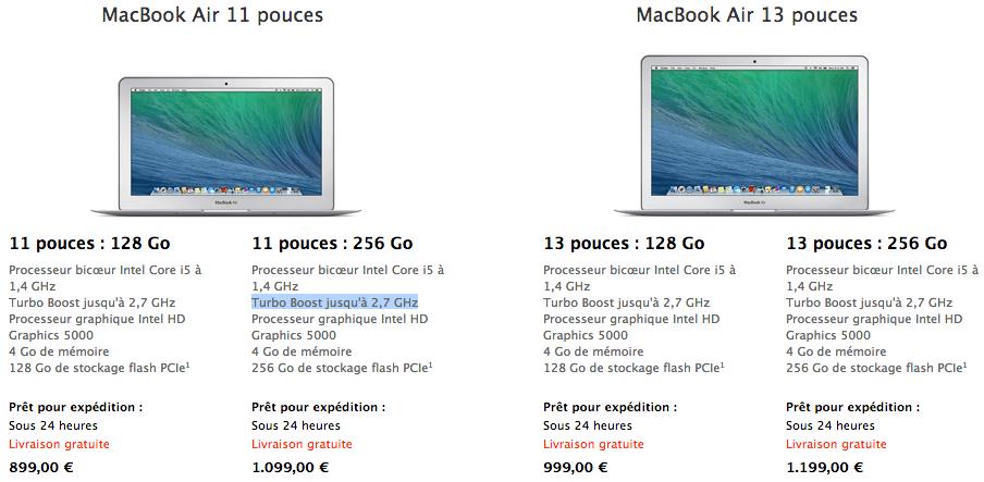 MacBook Air prix avril 2014 - MacBook Air : nouveaux processeurs et baisse des prix sur l'Apple Store