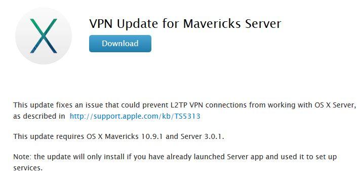 mise a jour VPN mavericks server - OS X Mavericks Server : mise à jour VPN