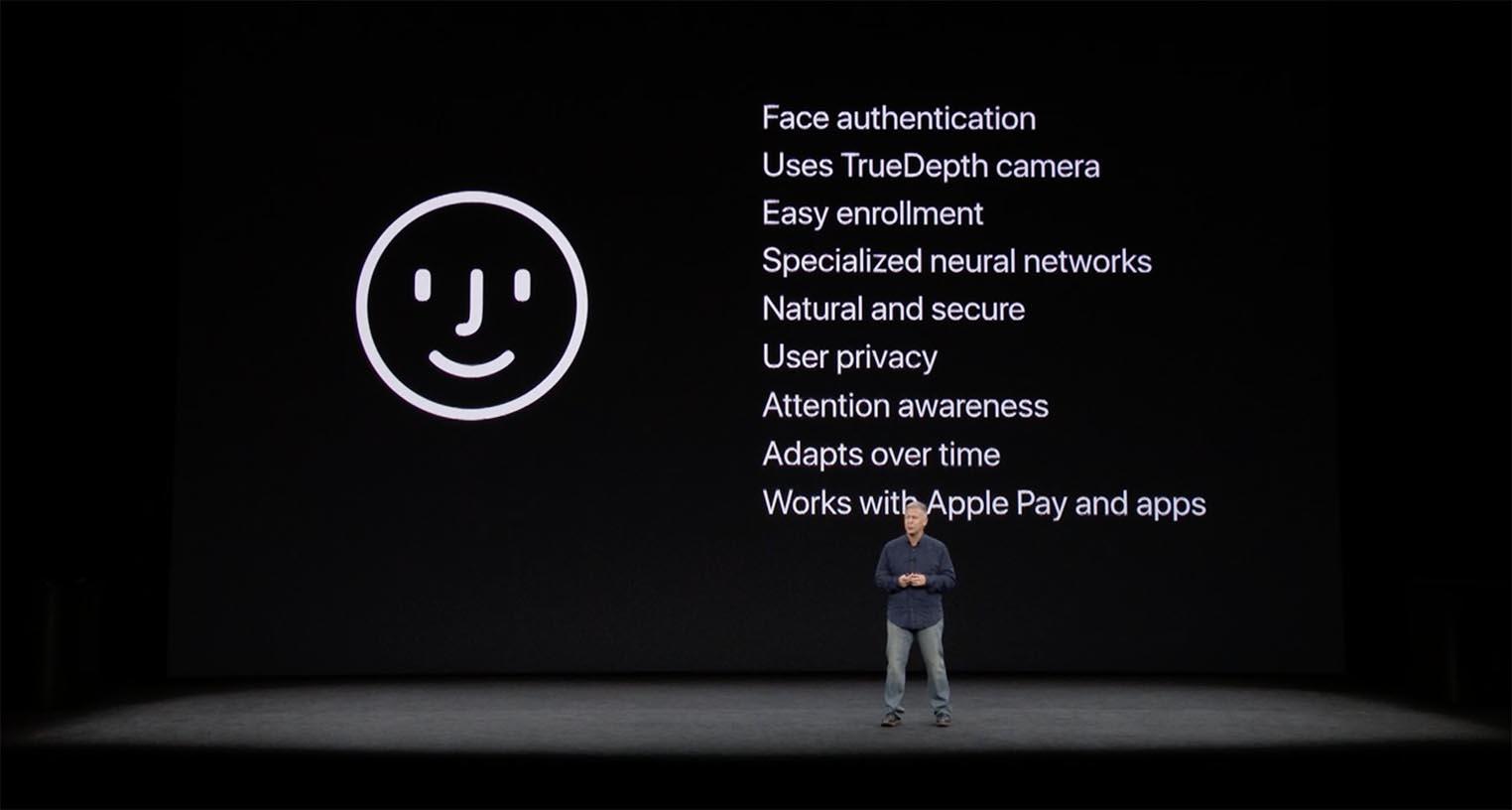 face id apple keynote 1024x548 - La reconnaissance faciale Face ID de l
