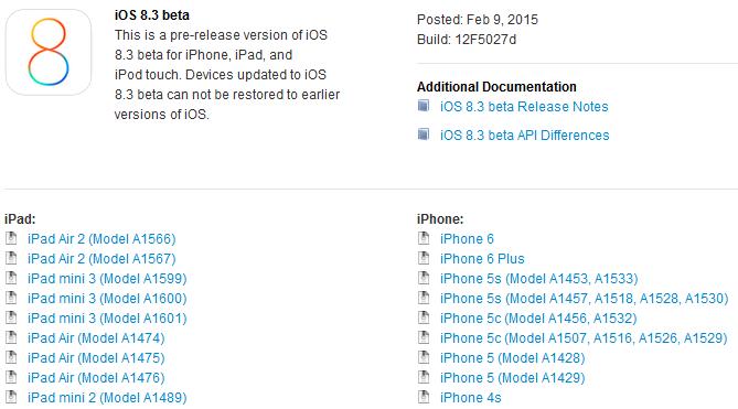 iOS 8.3 beta - iOS 8.3 bêta 1 disponible sur iPhone, iPad & iPod Touch