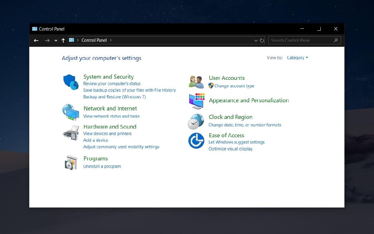 Windows 10 panneau de configuration