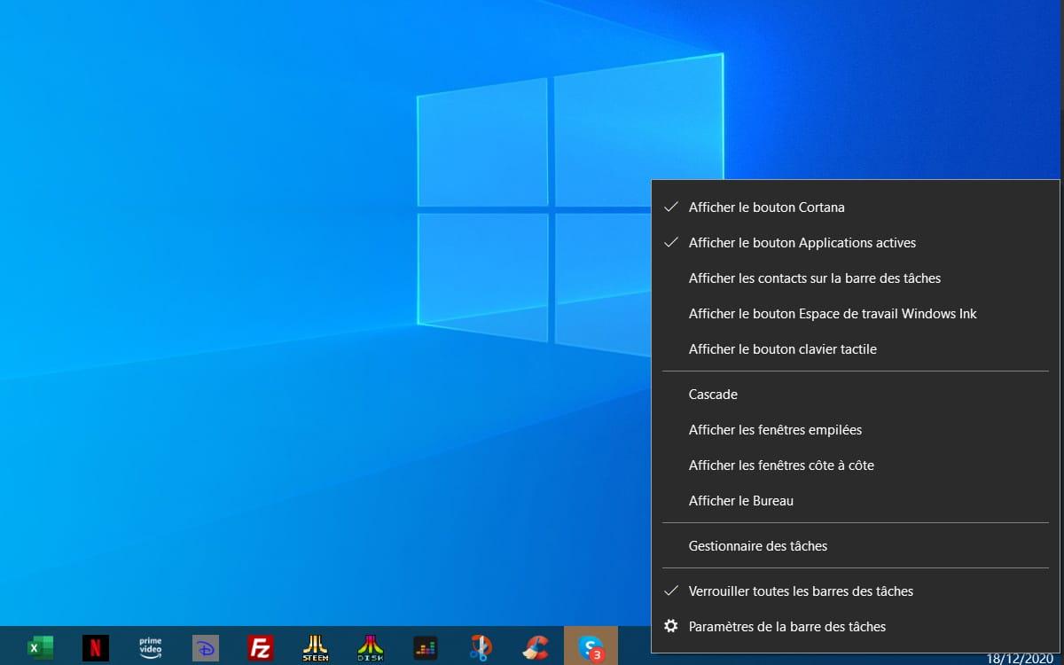 Windows 10 Barre des tâches